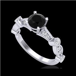 1.03 ctw Fancy Black Diamond Engagement Art Deco Ring 18K White Gold