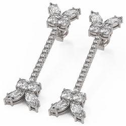 6.5 ctw Cushion Diamond Designer Earrings 18K White Gold