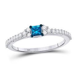 10kt White Gold Princess Blue Color Enhanced Diamond Bridal Wedding Engagement Ring 1/2 Cttw