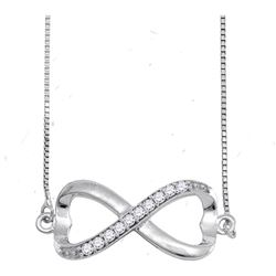Sterling Silver Round Diamond Infinity Pendant Necklace 1/10 Cttw