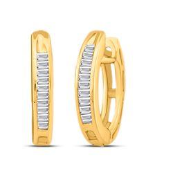 10kt Yellow Gold Baguette Diamond Huggie Hoop Earrings 1/8 Cttw