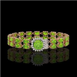 17.4 ctw Peridot & Diamond Bracelet 14K Rose Gold