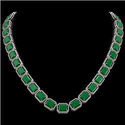 84.94 ctw Emerald & Diamond Micro Pave Halo Necklace 10K White Gold