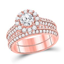 14kt Rose Gold Round Diamond Bridal Wedding Engagement Ring Band Set 1-7/8 Cttw
