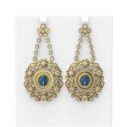 24.08 ctw Aquamarine & Diamond Earrings 18K Yellow Gold