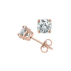 1.0 ctw Certified VS/SI Diamond Stud Earrings 18K Rose Gold
