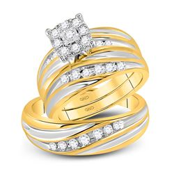 14kt Yellow Gold His & Hers Round Diamond Cluster Matching Bridal Wedding Ring Band Set 5/8 Cttw