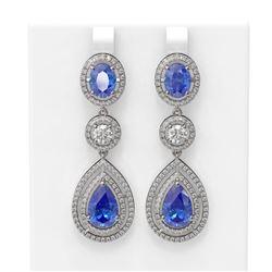 14.42 ctw Tanzanite & Diamond Earrings 18K White Gold