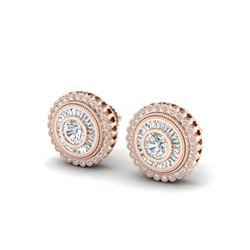 2.61 ctw VS/SI Diamond Solitaire Art Deco Stud Earrings 18K Rose Gold
