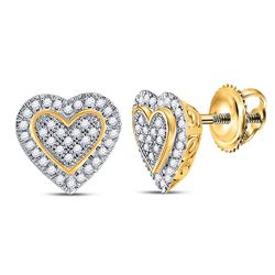 10kt Yellow Gold Round Diamond Heart Cluster Stud Earrings 1/4 Cttw