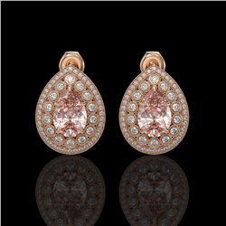 7.94 ctw Morganite & Diamond Victorian Earrings 14K Rose Gold