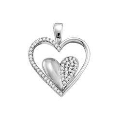10kt White Gold Round Diamond Double Cradled Heart Pendant 1/5 Cttw