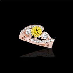 2.01 ctw Certified SI Intense Yellow Diamond Bypass Ring 10K Rose Gold