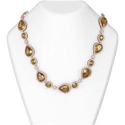 141.73 ctw Canary Citrine & Diamond Necklace 18K Rose Gold