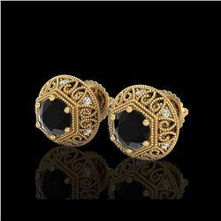 1.31 ctw Fancy Black Diamond Art Deco Stud Earrings 18K Yellow Gold