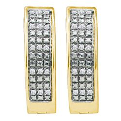 Yellow-tone Sterling Silver Round Pave-set Diamond Triple Row Hoop Earrings 1/10 Cttw