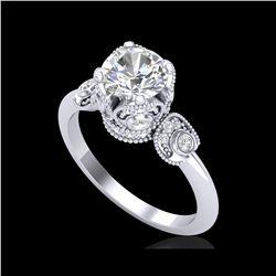 1.75 ctw VS/SI Diamond Art Deco Ring 18K White Gold