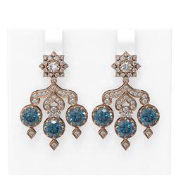 6.3 ctw Intense Blue Diamond Earrings 18K Rose Gold