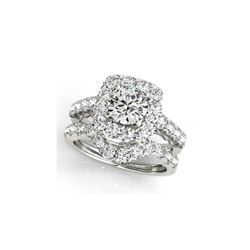 2.12 ctw Certified VS/SI Diamond 2pc Wedding Set Halo 14K White Gold