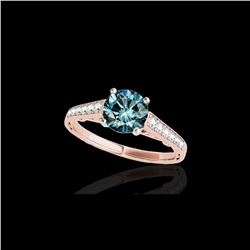 1.35 ctw SI Certified Fancy Blue Diamond Solitaire Ring 10K Rose Gold