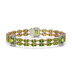 27.5 ctw Peridot & Diamond Bracelet 14K Rose Gold