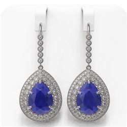 31.74 ctw Sapphire & Diamond Victorian Earrings 14K White Gold