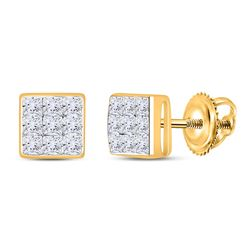 14kt Yellow Gold Princess Diamond Square Cluster Stud Earrings 1/4 Cttw