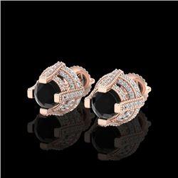 2.75 ctw Fancy Black Diamond Micro Pave Stud Earrings 18K Rose Gold