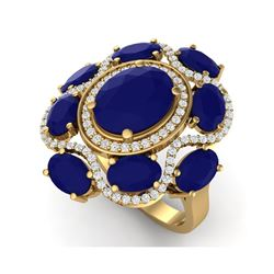 9.86 ctw Designer Sapphire & VS Diamond Ring 18K Yellow Gold