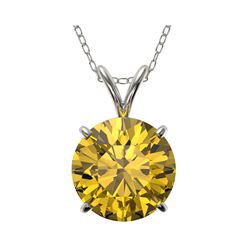 2.50 ctw Certified Intense Yellow Diamond Necklace 10K White Gold