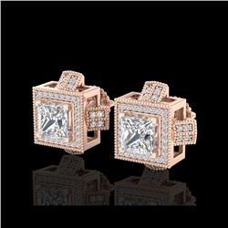 2.75 ctw Princess VS/SI Diamond Micro Pave Stud Earrings 18K Rose Gold