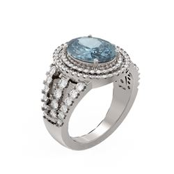 4.89 ctw Blue Topaz & Diamond Ring 18K White Gold