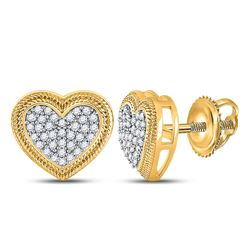 10kt Yellow Gold Round Diamond Heart Cluster Earrings 1/5 Cttw