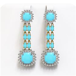 16.04 ctw Turquoise & Diamond Earrings 14K Yellow Gold