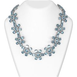 264.62 ctw Blue Topaz & Diamond Necklace 18K White Gold