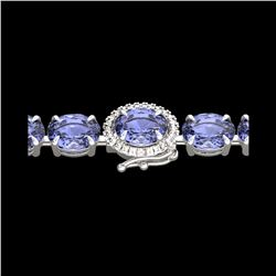 32 ctw Tanzanite & VS/SI Diamond Micro Bracelet 14K White Gold
