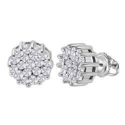 14kt White Gold Round Diamond Flower Cluster Earrings 1.00 Cttw