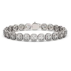 10.39 ctw Cushion Cut Diamond Micro Pave Bracelet 18K White Gold