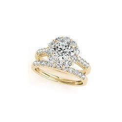 2.39 ctw Certified VS/SI Diamond 2pc Wedding Set Halo 14K Yellow Gold