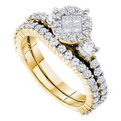 14kt Yellow Gold Princess Round Diamond Bridal Wedding Engagement Ring Band Set 1-3/8 Cttw
