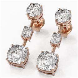 5 ctw Cushion Cut Diamond Designer Earrings 18K Rose Gold