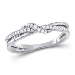 10kt White Gold Round Diamond Crossover Stackable Band Ring 1/6 Cttw