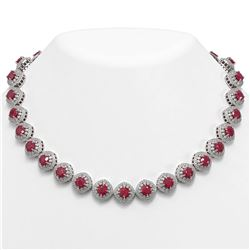 82.17 ctw Certified Ruby & Diamond Victorian Necklace 14K White Gold
