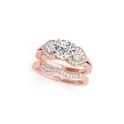 1.8 ctw Certified VS/SI Diamond 3 Stone 2pc Set Ring Wedding 14K Rose Gold