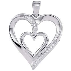 10kt White Gold Round Diamond Double Nested Heart Pendant 1/20 Cttw