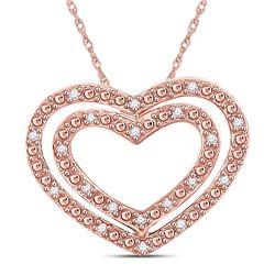 14kt Rose Gold Round Diamond Double Heart Pendant 1/12 Cttw