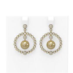 2 ctw Diamond and Pearl Earrings 18K Yellow Gold