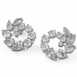 5.31 ctw Mix cut Diamonds Designer Earrings 18K White Gold