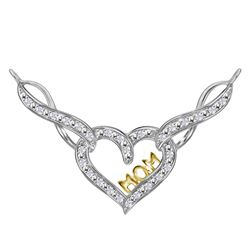 Sterling Silver Round Diamond Mom Infinity Heart Pendant Necklace 1/4 Cttw
