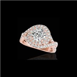 1.75 ctw Certified Diamond Solitaire Halo Ring 10K Rose Gold